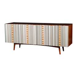 None - Avrille Sideboard - Clean midcentury lines are paired with swanky 1960s baubles in this extremely stylish and functional wooden sideboard. It's a stunning piece of furniture for your dining or living room with just the right amount of whimsy.