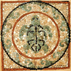 Pebbles Stone Medallion Turtle Mosaic - Pebbles stone turtle medallion 44 inches
