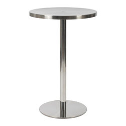 Euro Style - Caitlin Counter Table - Brushed stainless steel top. Polished stainless steel column and base. Not for outdoor use. Durable, easy-to-clean stainless steel. Clean, industrial design. 23.5 in. L x 23.5 in. W x 36 in. H