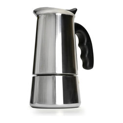 EPOCA - Stainless Steel 6 cup Stovetop Espresso Maker with Silicone Handle - Primula's Stainless Steel Espresso Coffee Maker allows you to brew authentic robust espresso right from your very own stovetop. This model quickly produces 6 Demitasse cups of rich, robust espresso. Stovetop espresso makers are popular because you can make quality espresso without the hassle of electric espresso machines. This espresso maker takes up very little counter space, is easy to use, and delivers 6 fantastic cups of fresh, aromatic espresso within minutes. Primula's stainless steel model includes an oversized silicone handle which keeps the soft grip cool and allows for easier handling and pouring. The stainless steel design provides through and even heat distribution for enhanced flavor and aroma. Included in each box are easy step by step instructions so even a beginner can make a perfect cup of espresso the very first time. Simply fill the lower chamber with water, fill the filter with finely ground coffee, and place on medium heat atop your stove. Within minutes, delicious, bubbling cups of espresso will fill your pot. Remove from heat and enjoy, or add some milk for tasty cappuccinos, lattes or mochas. This espresso maker features a safety-release valve to control the water pressure, a major factor in controlling the quality of your espresso. If there is not enough pressure delivered to your coffee grounds, your espresso will be under-extracted, while the flip side of too much water pressure causes over-extraction. Primula's design allows you to make the perfect shot of espresso without worry as the safety release valve controls the pressure at a set, pre-determined level. This sturdy espresso machine is carefully crafted of stainless steel and features a stay cool silicone knob on the flip-top lid for easy, safe dispensing. Dishwasher safe and easy to clean.
