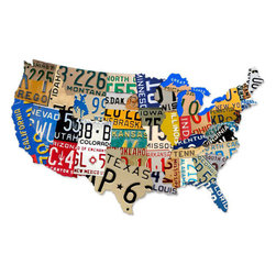 Past Time Signs - License Plate USA Map Tin Sign 35 x 21 Inches - - Width: 35 Inches