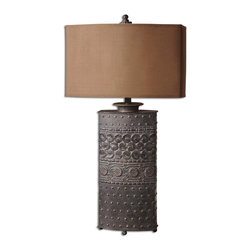 Uttermost - Uttermost 27630-1 Shakia Table Lamps - Distressed olive bronze with gold highlights.