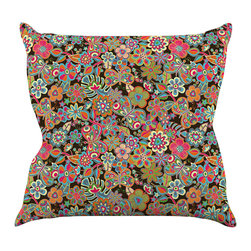 """Kess InHouse - Julia Grifol """"My Butterflies & Flowers in Brown"""" Rainbow Floral Throw Pillow (18 - Rest among the art you love. Transform your hang out room into a hip gallery, that's also comfortable. With this pillow you can create an environment that reflects your unique style. It's amazing what a throw pillow can do to complete a room. (Kess InHouse is not responsible for pillow fighting that may occur as the result of creative stimulation)."""