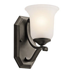 Kichler Lighting - Kichler Lighting Wellington Square Transitional Wall Sconce X-ZO10454 - This bold and elegant transitional wall sconce features a simple swirl design and a dark finish that beautifully contrasts with the soft white shade. This light adds just the right amount of light to any room creating a warm and welcoming ambiance. This sconce is an affordable way to transform any dining room or living space.