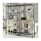 Home Styles - Home Styles The Orleans Multi-Function Etagere Set - Home Styles - Bookcases - 506076PKG - Home Styles The Orleans Three Multi-Function Shelves Etagere (included quantity: 2)  Inspired by 18th century French Creole Cottages the slotted shelves and spindle legs are reminiscent of French Quarter architecture. The Orleans Multi-Function Shelves by Home Styles is constructed of powder-coated metal with Marble Laminate shelves. This multifaceted storage unit will meet all your storage needs, and will complement any area in the home…bedroom, kitchen, office, living room, bathroom, garage, etc.  The Orleans Storage stand is equipped with five fixed reinforced shelves.  Other features include levelers on the feet for added stability.  Size: 38w 16d 76h.  Assembly required.