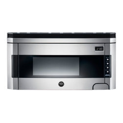 Bertazzoni Design Series Over The Range Microwave, Stainless Steel   KO30PROX - The oven has 11 power levels and controls that include pre-set cooking modes, cooking timer and sensor controls for reheat, defrost and cook. The smart control display features white digits on a black background. The oven is equipped with a child safety lock.