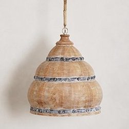 """Anthropologie - Handcrafted Meso Pendant Lamp - Hardwired for professional installation Wood, iron40 watt max120"""" cord72"""" chain17.25""""H, 17.25"""" diameterImported"""
