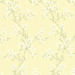Brewster Home Fashions - Altha Yellow Jasmine Trail Wallpaper. - Embellish your walls in this delicate jasmine floral trail wallpaper full of dainty pathways of botanical whites. Hand-painted detail and crawling vines instill an oriental charm while maintaining the beauty of the outdoors.
