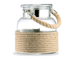 Kathy Kuo Home - Spring Lake Coastal Style Glass and Cord Apothecary Candle Lantern - S - Reminiscent of your childhood seashell collection jar, this glass and jute rope candle lantern evokes idyllic summer memories. Light these keepsakes indoors or out, and enjoy your trip down memory lane.