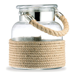DK Living - Spring Lake Modern Glass and Cord Apothecary Candle Lantern, Small - Reminiscent of your childhood seashell collection jar, this glass and jute rope candle lantern evokes idyllic summer memories. Light these keepsakes indoors or out, and enjoy your trip down memory lane.