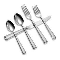 Oneida - Couplet 5-Piece Place Setting - Tasteful and architectural, Oneida's flatware features a geometric shape with traditional accents to add a graceful accent to every meal. Couplet's edge detailing creates a symmetrical polished border surrounding a soft satin finished center panel.
