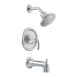 "Moen - Moen TS2143 Icon Posi-Temp Single Handle Tub and Shower Faucet Trim in Chrome - Moen TS2143 Icon Posi-Temp Single Handle Tub and Shower Faucet Trim in ChromeThe Icon collection offers a modern style that perfectly fits contemporary decor. Icon combines urban chic that takes the ordinary to the extraordinary.Note: Valve Not IncludedMoen TS2143 Icon Posi-Temp Single Handle Tub and Shower Faucet Trim in Chrome, Features:• Lever design for ease of use• Posi-Temp pressure-balancing valve (Not Included) maintains water pressure and controls temperature• Moenflo XLT single function showerhead• Includes arm and flange• 7 1/4"" slip fit diverter tub spout• ADA Compliant• Valve Required (sold separately)Requires: Moen-2510 Moen 2510-M-PACT Posi-Temp Pressure Balancing Cycling Rough-in Valve (1/2"" IPS), or Moen-2590 Moen 2590-M-PACT Posi-Temp Pressure Balancing Cycling Rough-In Valve with Stops (1/2"" IPS), or Moen-2520 Moen-2520 M-PACT Posi-Temp Pressure Balancing Cycling Rough-In Valve with Stops (1/2"" CC) Moen Limited Lifetime WarrantyView the Entire Moen Icon CollectionView All"