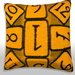 Custom Photo Factory - Brown and Yellow Number Games Pillow.  Polyester Velour Throw Pillow - Brown and Yellow Number Games Pillow. 18 Inches x 18  Inches.  Made in Los Angeles, CA, Set includes: One (1) pillow. Pattern: Full color dye sublimation art print. Cover closure: Concealed zipper. Cover materials: 100-percent polyester velour. Fill materials: Non-allergenic 100-percent polyester. Pillow shape: Square. Dimensions: 18.45 inches wide x 18.45 inches long. Care instructions: Machine washable