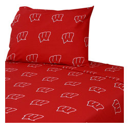 College Covers - NCAA Wisconsin Badgers Collegiate Red Twin XL Bed Sheets - Features: