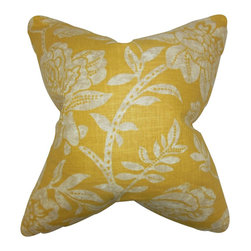 The Pillow Collection - Lanier Floral Pillow Yellow - Update the look of your home with this bright accent pillow. This statement piece features a floral pattern in shades of natural and yellow. Adorn your sofa, bed or seat with this spring-ready decor piece. Made with a blend of 50% polyester and 50% cotton fabric. Hidden zipper closure for easy cover removal.  Knife edge finish on all four sides.  Reversible pillow with the same fabric on the back side.  Spot cleaning suggested.
