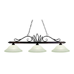 "Z-Lite - Z-Lite 3 Light Billiard - Simple curves and a crown centerpiece define this three light fixture. Finished in weathered bronze, this fixture uses warm glowing white swirl glass shades to create an elegant look. This fixture includes 72""  of chain on both sides to ensure a perfect hanging height."