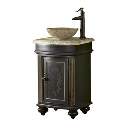 "Kaco - Arlington 24"" Round Ebony Vanity With Gold Hill Granite Top and Vessel Sink - The Arlington, a stately traditional cabinet, features panel and frame doors, raised moulding drawer trim, bowed front , and fluted pilasters supported by rounded bun feet. Kaco products feature a Sherwin Williams water resistant furniture grade finish and a complete package of complimenting products for the bath. Dimensions: 24 in. x 18.5 in."