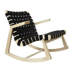Greenbelt Rocker - No Brass Tacks, Maple Finish, Black Cotton