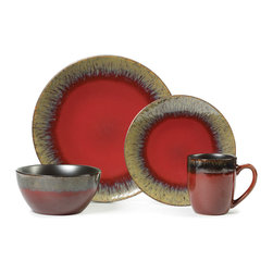Gourmet Basics by Mikasa - Gourmet Basics Calder Red 16-piece Dinnerware Set - This Gourmet Basics Calder dinnerware set features a metallic look that creates an artistic and trendy design,adding style and excitement to your next entertaining event. This casual dinnerware set is perfect for entertaining and everyday dining.