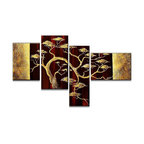 Fabuart - Hand Painted Golden Bonsai Canvas Painting - 57 x 34 in - 4 Panels - This beautiful art is 100% hand-painted on canvas by one of our professional artists. Our experienced artists start with a blank canvas and paint each and every brushstroke by hand.