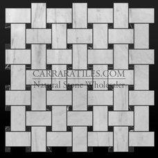 Bianco Carrara Marble Basketweave Mosaic Tile Black Marquina Dots Polished