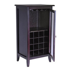 Winsome - Winsome Espresso Wine Cabinet with Glass Door - Winsome - Wine Racks - 92522 - Combining modern simplicity with and old world charm the Winsome Espresso Wine Cabinet with Glass Door is a classy piece. In a rich espresso finish the Espresso Wine Cabinet is made of durable wood and has two classy glass doors. It is able to hold sixteen wine bottles in the lower half so that you can use the top half for whatever else you need.