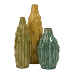 "IMAX CORPORATION - Soto Vases - Set of 3 - Resembling a succulent cactus, the set of three Soto vases blend a rustic feel with a contemporary vibe. Set of 3 in various sizes measuring around 19.5""L x 12.25""W x 17.75""H each. Shop home furnishings, decor, and accessories from Posh Urban Furnishings. Beautiful, stylish furniture and decor that will brighten your home instantly. Shop modern, traditional, vintage, and world designs."