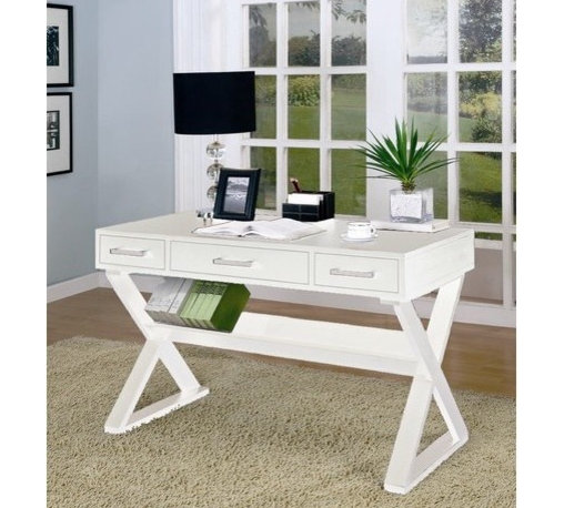 Wildon Home � - Desks Desk with Three Drawers, White - This cool contemporary desk will be a stylish addition to your home office, hallway, living room, or wherever you need a work space in your home. The generous top surface has smooth clean edges, offering plenty of space to spread out your paperwork, place or lamp, or organize office essentials. Three drawers below will keep the rest of your supplies organized and out of sight, for a calming work space where you can really get things done. Simple contemporary silver metal handles accent each drawer front. Crossing legs below create a bold look, with a shelf that is perfect for holding books. Available in sleek Black or clean White finishes, this desk is sure to complement your decor, and complete your cool contemporary ensemble. Features: -Writing desk.-Contemporary style.-Three drawers and one book shelf.-Cross legs.-Bicknell collection.-Distressed: No.-Collection: Bicknell.Dimensions: -Dimensions: 31'' H x 48'' W x 24'' D.