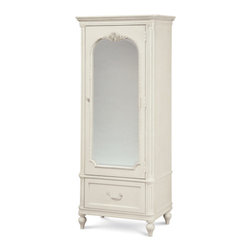 Universal - Smart Stuff - Gabriella Mirror Front Storage Armoire - Your little girl will feel like a princess every day with this functional and elegant Universal Furniture Armoire. The soft Lace finish sets a delicate tone in the room while also enhancing the look of the rose carvings, fluted pilasters, and beaded accents. Behind the mirrored armoire door is a cork board, a felt-lined storage box, 4 drawers, adjustable shelves, and an easy cord access outlet. All of these, and the large base drawer, make for an incredible piece of youth bedroom furniture.