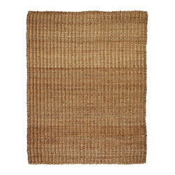 Anji Mountain - River Sand Jute Rug - 9' x 12' - Jute brings a magnificent, chunky texture to any space. These rugs are expertly handloom-woven by skilled weavers who employ a variety of traditional techniques to create these simply beautiful styles. Jute fibers exhibit naturally anti-static, insulating and moisture regulating properties. It is predominantly farmed by approximately four million small farmers in India and Bangladesh and supports hundreds of thousands of workers in jute manufacturing (from raw material to yarn and finished products).