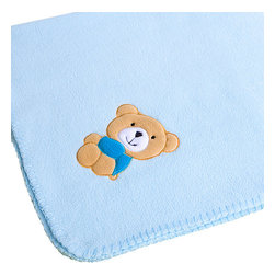 """Blancho Bedding - Brown Bear - Blue Embroidered Coral Fleece Baby Throw Blanket  29.5""""-39.4"""" - The Embroidered Applique Coral Fleece Baby Kids Throw Blanket measures 29.5 by 39.4 inches. Whether you are adding the final touch to your bedroom or rec-room, these patterns will add a little whimsy to your decor. Machine wash and tumble dry for easy care. Will look and feel as good as new after multiple washings! This blanket adds a decorative touch to your decor at an exceptional value. Comfort, warmth and stylish designs. This throw blanket will make a fun additional to any room and are beautiful draped over a sofa, chair, bottom of your bed and handy to grab and snuggle up in when there is a chill in the air. They are the perfect gift for any occasion! Available in a choice of whimsical kid-friendly prints to spark the imagination, the blanket is durable enough to look great on the go."""