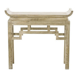 Arteriors Home - Arteriors Home Chen Solid Wood Console - Arteriors Home 6326 - This handcrafted, Asian-inspired console table would be a stunning addition to your entryway or dining area. Solid mango wood is lime-washed to give it a glowing pale finish. Hang a tapestry above it, add some candles and a single flower, and you will have created a visual masterpiece.