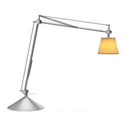 Flos - Archimoon Soft table lamp with base - This task lamp provides direct and diffused light. Acid-etched pressed borosilicate glass internal diffuser. Injection-molded polycarbonate diffuser, vacuum-aluminized inside. Gray painted die-cast aluminum diffuser support. This is the Table Clamp Version