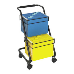 Safco - Safco Jazz 2-Tier Mobile Metal Hanging File Cart - Safco - Filing Cabinets - 5223BL - Get Jazzy! The steel economically priced Jazz mobile file cart keeps two levels of active files at your fingertips. Tuck the cart nicely under most work-surfaces to keep projects out of sight but close at hand. Conveniently padded handle makes transport easy and comfy.