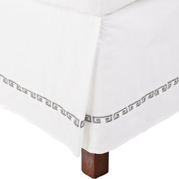 Kendell Full Bed Skirt Cotton - White/Grey - This bed skirt is part of the Kendell Collection. It features a greek-style colored design on white.