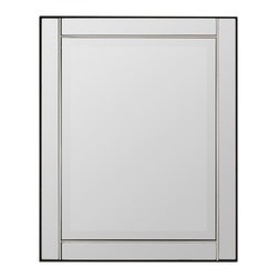 "Cooper Classics - Jansen Silver Rectangular Mirror - Silver Finish; Beveled Mirror, Frame Dimensions: 24""W X 30""H, Mirror Dimensions: 19""W X 25""H, Finish: Silver, Material: Glass, Beveled: Yes, Shape: Rectangular, Weight: 30 lbs, Included: Brackets, Ready to Hang Vertically or Horizontally"