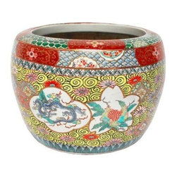 Vintage Japanese Hibachi Porcelain Fish Bowl - Vintage Japanese hibachi with bright colored scenes of dragons, birds, and structures. Lots of gold leaf highlights in excellent condition with yellow whirlpool patterned ground. This must be seen in person to appreciate the beautiful detail and color.
