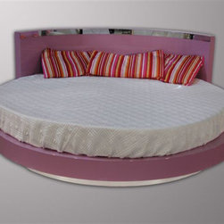 "Sercio Round Bed Collection - 76"" Round Bed starting price @ $3,500, no headboard mirrored strip or lights.  Available in the following sizes:"