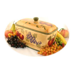 None - Tuscan Collection Hand-painted Toast/Bread Jar - This Tuscan bread container has an elegant look that adds Old World charm to your home. The ceramic box is glazed,so it stays looking new. The hand-painted piece is artistic and is sure to draw attention while having a functional purpose.
