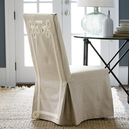 Ballard Designs - Parsons Chair Slipcover with Twirls Tape Ribbon - Made in the USA. Cotton/rayon blend. Dry clean only. Neutral color for any décor. Give your seating an instant update with our custom-fit Slipcover, tailored exclusively for our Standard Parsons Chair or our Castered Parsons Chair. Constructed of a heavy basketweave base cloth, the back of the Slipcover features looped applique detailing with twill tape ribbon. Parsons Slipcover Twirls features: . . . Neutral color for any decor