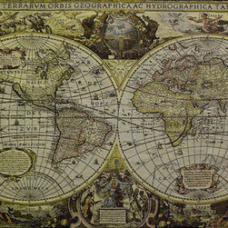 None - World Map Wall Tapestry - This wall tapestry depicts a map of the world Jacquard woven cotton tapestry features a rod pocket for hanging Cotton-lined wall decoration features colors of ivory, gold and black