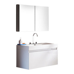 Fresca - Mezzo White Vanity w/ Medicine Cabinet Sesia Chrome Faucet - This vanity is striking in its simplicity. It features a beautiful widespread chrome faucet. Don't forget to check under the hood with the innovative storage system that includes a nested drawer. It also features a medicine cabinet that can be either wall mounted or recessed into a wall. The Mezzo is a larger version of the Nano Vanity.
