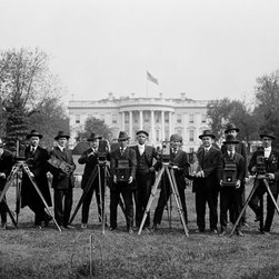 Press Correspondents and Photographers on White House Lawn Print - Press on White House Lawn photographed by Harris and Ewing in 1918 on 5x7 glass plate negative.
