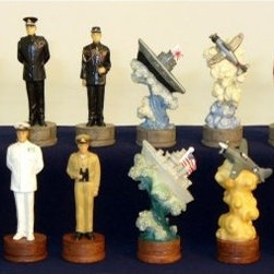 Pearl Harbor Painted Resin Chess Pieces - From brave U.S. Navy men to Japanese kamikaze pilots, several historical characters from a battle that forever changed the world are depicted in this set of Pearl Harbor Painted Resin Chess Pieces. Made of durable, hand-painted poly resin, each of the 32 pieces comes with felt bottoms for stability and scratch-free play. As a point of reference for the pieces' size, the set's king stands 3.25 inches tall upon a 1-inch-wide base.
