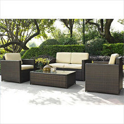 Crosley Palm Harbor 4 Piece Outdoor Wicker Seating Set - Set your ice cold beverage on the table and lounge around on our elegantly designed all-weather wicker loveseat. Finely crafted with intricately woven wicker over durable aluminum frames, this timeless wicker furniture provides lasting comfort and style. Let your worries fade away as you doze off in our UV & fade resistant cushions.
