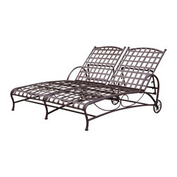 International Caravan - Double Patio Chaise Lounge - National best seller and all weather resistant coating. Double wrought iron. Four multi-positions for various comfort zones. Equipped with wheels for easy transportation. UV light fading protection. Made from pure premium wrought iron. Double powder-coated matte brown finish. Assembly required. 73 in. L x 52 in. W x 15 in. H (85 lbs.)
