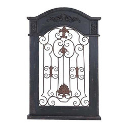 UMA - Scrolling Arch Top Wood Wall Panel - A graceful, arch topped wood frame with an intricately carved header encases an open scrolled grill with fleur de lis accents.