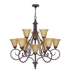 Nuvo Lighting - Tuscan Twelve Light Up Lighting Three Tier Chandelier - Bulb Type: T2. Bulb Base: Twist and Lock. Bulb Count: 12. Bulbs Not Included