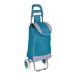 Rolling Fabric Cart, Blue - Honey-Can-Do CRT-03931 Large Rolling Knapsack Bag Cart with Wheels, Blue. Polyester knapsack bag with heavy-duty wheels for curbs, steps and elevated surfaces. Ergonomic comfort grip handle for easy transport. Wheels are smooth rolling and quiet, will not scuff or damage floors. Knapsack quickly secures contents of bag with black drawstrings. Balance bar and large wheels allow bag cart to sit upright, free up your hands. Use the rolling cart in your laundry room, hobby area, kids playroom, or tucked away neatly until ready for use. Product Dimensions: 15.75 in L x 10.24 in W x 36.61 in H. Home and travel organization made easy.