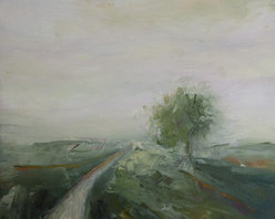 A Grey Day, Original, Painting - Impressionist landscape. Quiet rural countryside on a grey day.